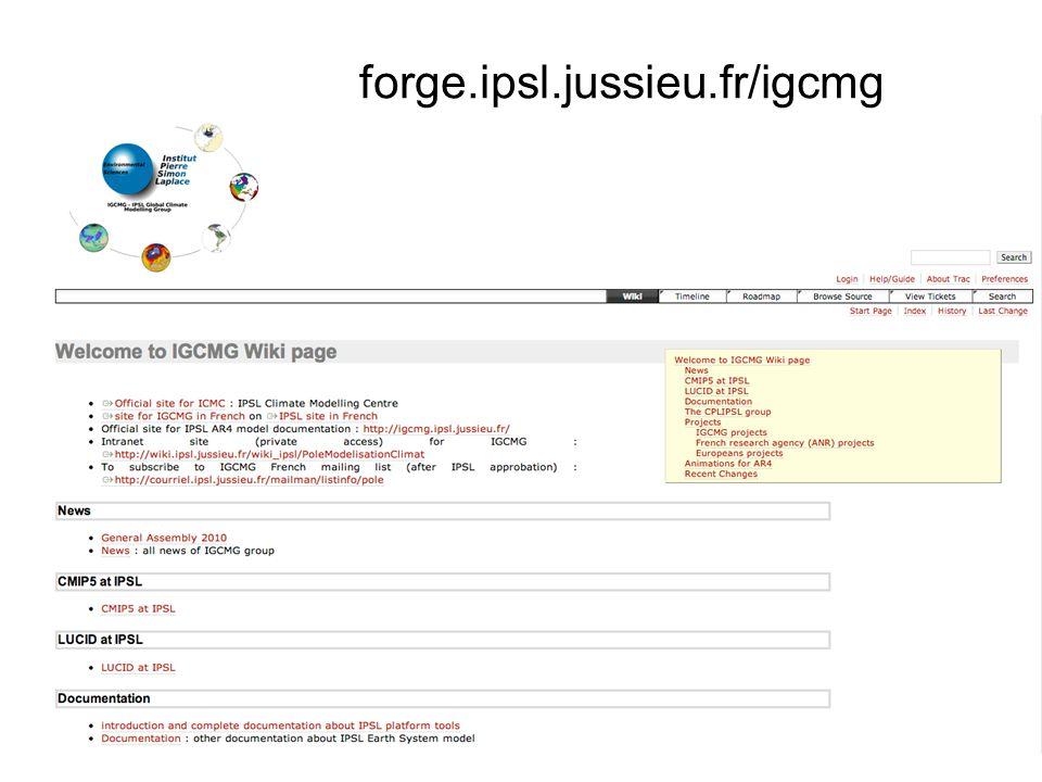 Simulations avec libIGCM : les options Job_EXP00 create_ts create_se atlas monitoring rebuild RebuildFrequency=1Y, PackFrequency=NONE, mode « Sans pack » (IDRIS-vargas) Job_EXP00 create_ts create_se atlas monitoring RebuildFrequency=NONE, PackFrequency=NONE(ou absent), mode « DEBUG » ou « TEST » rebuild online 2007 2010 Job_EXP00 create_ts create_se atlas monitoring rebuild pack_restart pack_debug pack_output RebuildFrequency=1Y, PackFrequency=1Y, mode « Avec pack » (CCRT-TGCC et IDRIS-ada) 2012