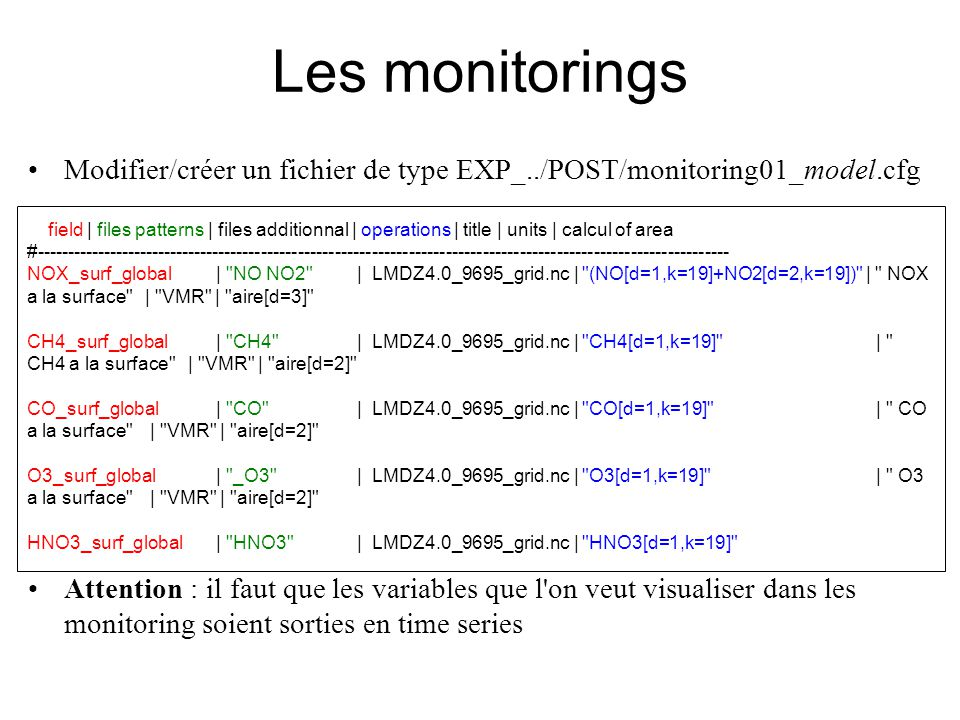 Modifier/créer un fichier de type EXP_../POST/monitoring01_model.cfg Attention : il faut que les variables que l on veut visualiser dans les monitoring soient sorties en time series #---------------------------------------------------------------------------------------------------------------- # field | files patterns | files additionnal | operations | title | units | calcul of area #----------------------------------------------------------------------------------------------------------------- NOX_surf_global| NO NO2 | LMDZ4.0_9695_grid.nc | (NO[d=1,k=19]+NO2[d=2,k=19]) | NOX a la surface | VMR | aire[d=3] CH4_surf_global| CH4 | LMDZ4.0_9695_grid.nc | CH4[d=1,k=19] | CH4 a la surface | VMR | aire[d=2] CO_surf_global| CO | LMDZ4.0_9695_grid.nc | CO[d=1,k=19] | CO a la surface | VMR | aire[d=2] O3_surf_global| _O3 | LMDZ4.0_9695_grid.nc | O3[d=1,k=19] | O3 a la surface | VMR | aire[d=2] HNO3_surf_global| HNO3 | LMDZ4.0_9695_grid.nc | HNO3[d=1,k=19] | HNO3 a la surface | | aire[d=2] Les monitorings