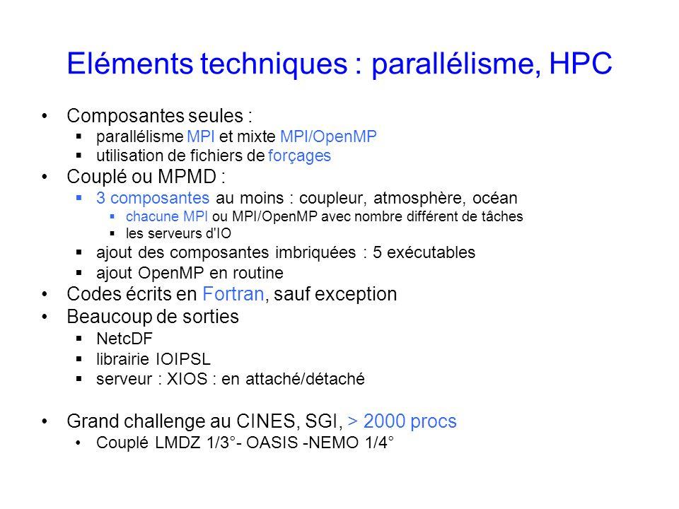 Eléments techniques : parallélisme, HPC Composantes seules : parallélisme MPI et mixte MPI/OpenMP utilisation de fichiers de forçages Couplé ou MPMD :