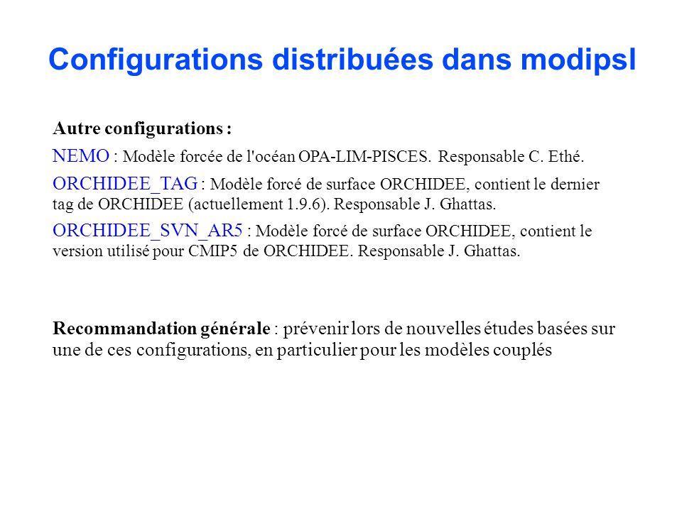 Configurations distribuées dans modipsl Autre configurations : NEMO : Modèle forcée de l'océan OPA-LIM-PISCES. Responsable C. Ethé. ORCHIDEE_TAG : Mod