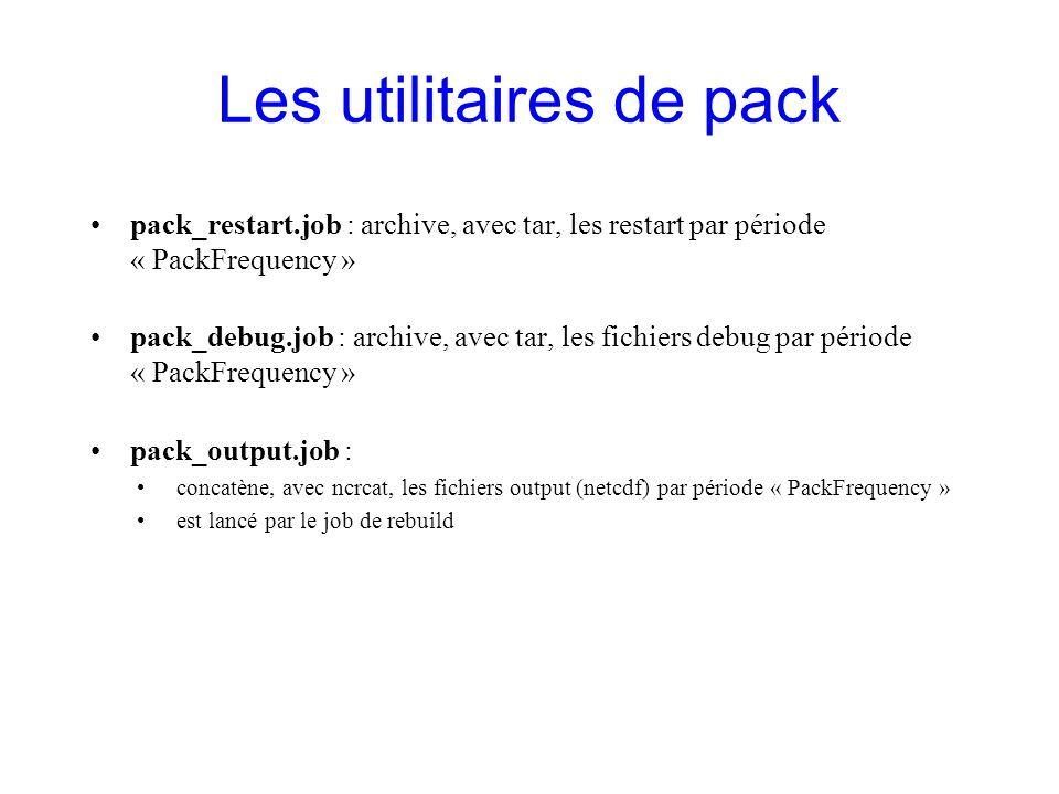 Les utilitaires de pack pack_restart.job : archive, avec tar, les restart par période « PackFrequency » pack_debug.job : archive, avec tar, les fichie