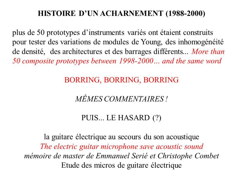 HISTOIRE DUN ACHARNEMENT (1988-2000) plus de 50 prototypes dinstruments variés ont étaient construits pour tester des variations de modules de Young, des inhomogénéité de densité, des architectures et des barrages différents...