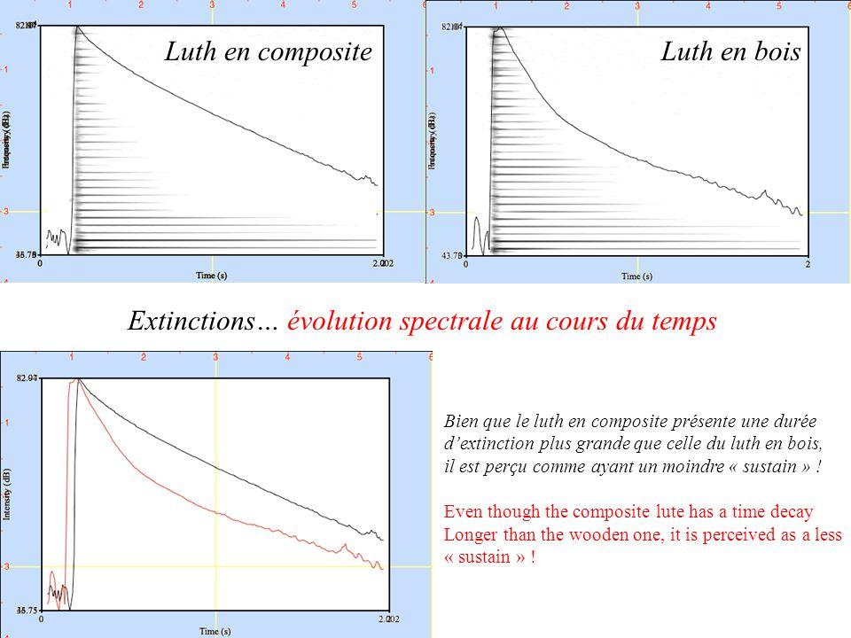 Extinctions… évolution spectrale au cours du temps Luth en boisLuth en composite Bien que le luth en composite présente une durée dextinction plus grande que celle du luth en bois, il est perçu comme ayant un moindre « sustain » .