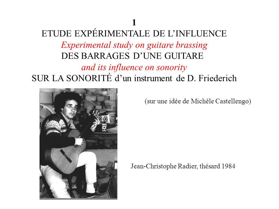 1 ETUDE EXPÉRIMENTALE DE LINFLUENCE Experimental study on guitare brassing DES BARRAGES DUNE GUITARE and its influence on sonority SUR LA SONORITÉ dun instrument de D.