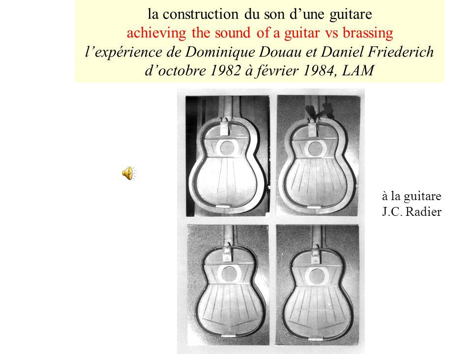 la construction du son dune guitare achieving the sound of a guitar vs brassing lexpérience de Dominique Douau et Daniel Friederich doctobre 1982 à février 1984, LAM à la guitare J.C.