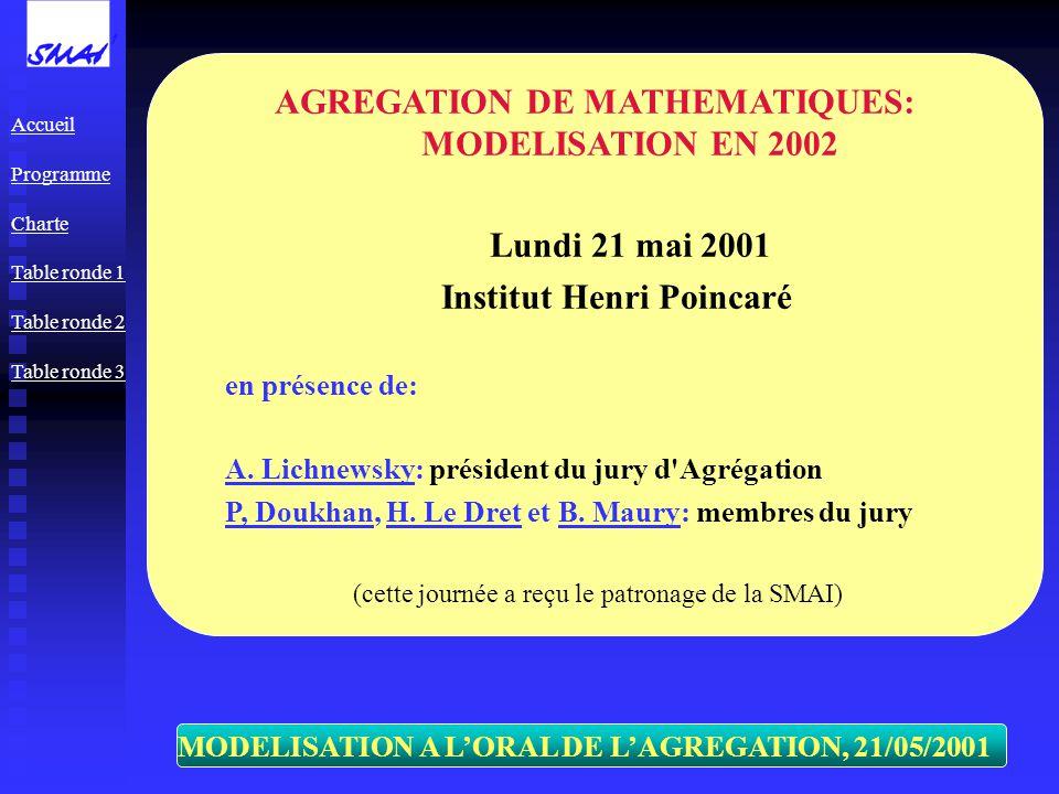 MODELISATION A LORAL DE LAGREGATION, 21/05/2001 AGREGATION DE MATHEMATIQUES: MODELISATION EN 2002 Lundi 21 mai 2001 Institut Henri Poincaré en présence de: A.