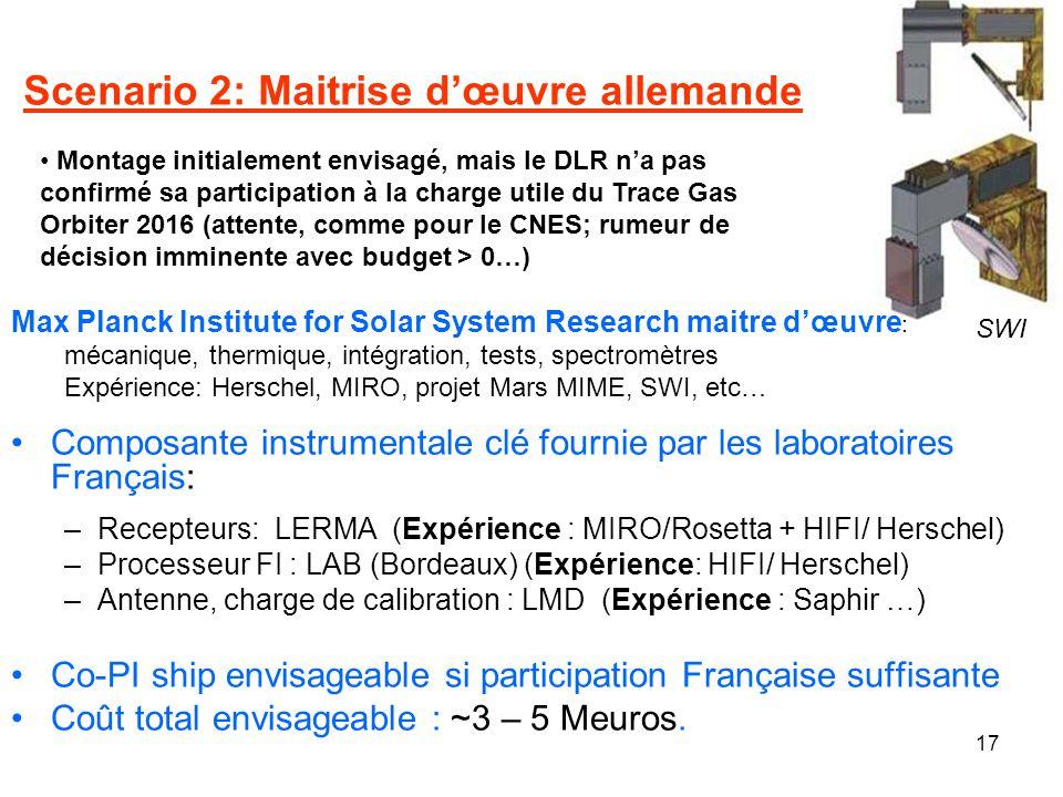 17 Scenario 2: Maitrise dœuvre allemande Composante instrumentale clé fournie par les laboratoires Français: –Recepteurs: LERMA (Expérience : MIRO/Ros