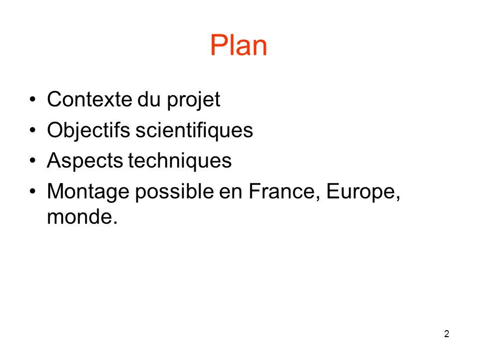 2 Plan Contexte du projet Objectifs scientifiques Aspects techniques Montage possible en France, Europe, monde.