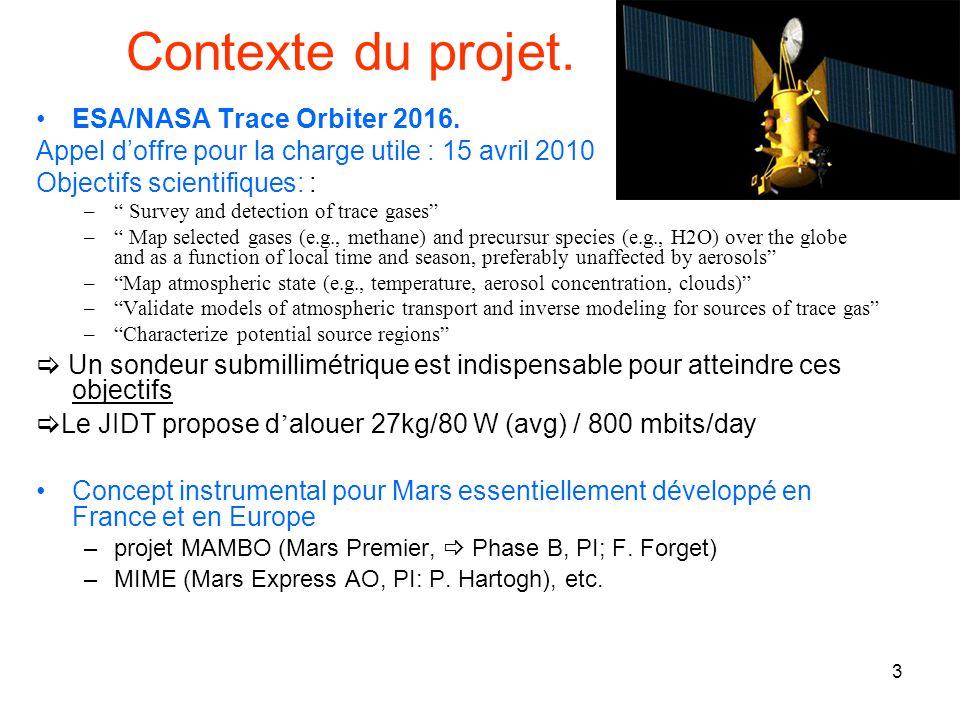 3 Contexte du projet. ESA/NASA Trace Orbiter 2016. Appel doffre pour la charge utile : 15 avril 2010 Objectifs scientifiques: : – Survey and detection