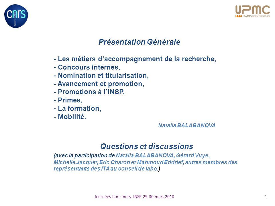 Présentation Générale - Les métiers daccompagnement de la recherche, - Concours internes, - Nomination et titularisation, - Avancement et promotion, -