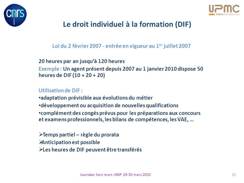 Le droit individuel à la formation (DIF) Loi du 2 février 2007 - entrée en vigueur au 1 er juillet 2007 20 heures par an jusquà 120 heures Exemple : U