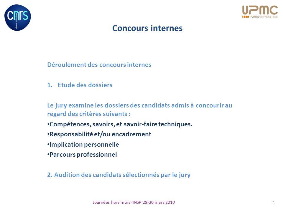 Concours internes Déroulement des concours internes 1.Etude des dossiers Le jury examine les dossiers des candidats admis à concourir au regard des cr