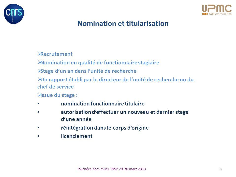 Nomination et titularisation Recrutement Nomination en qualité de fonctionnaire stagiaire Stage dun an dans lunité de recherche Un rapport établi par