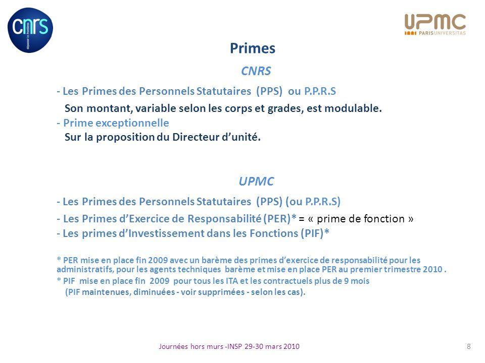 Primes CNRS - Les Primes des Personnels Statutaires (PPS) ou P.P.R.S Son montant, variable selon les corps et grades, est modulable. - Prime exception