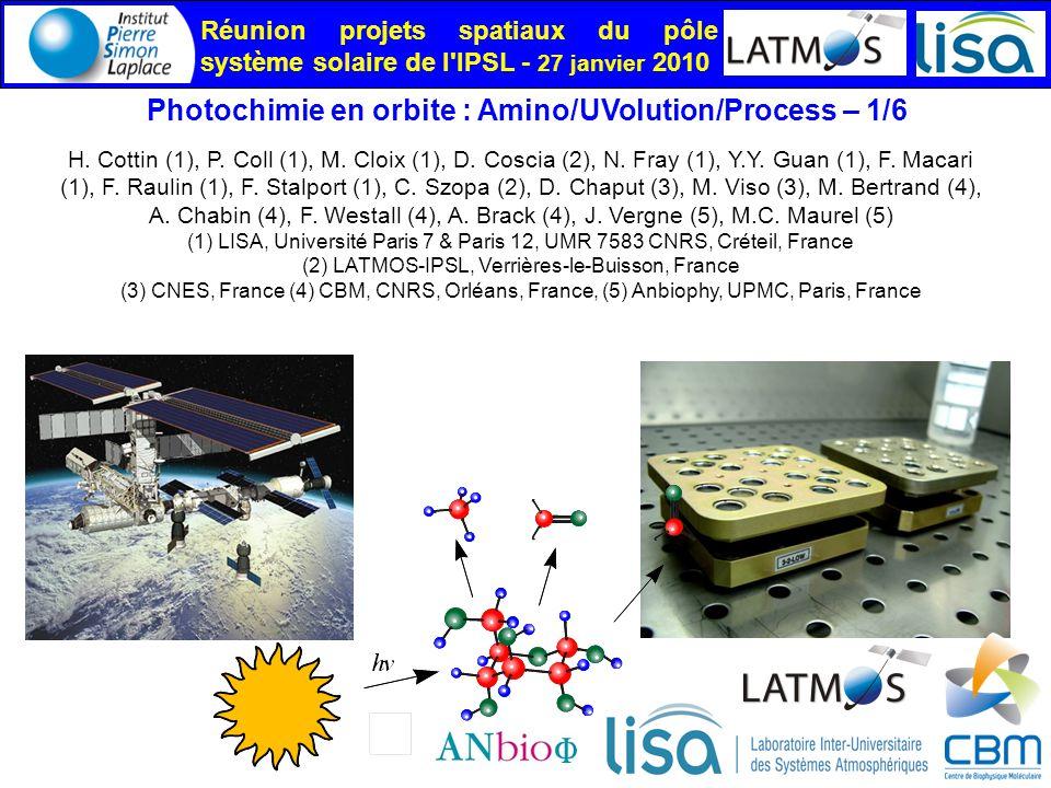 Réunion projets spatiaux du pôle système solaire de l IPSL - 27 janvier 2010 Photochimie en orbite : Amino/UVolution/Process – 1/6 H.