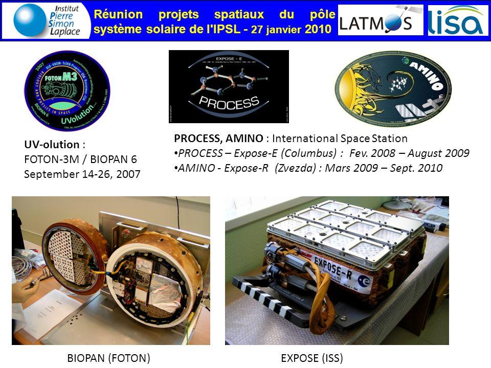 Réunion projets spatiaux du pôle système solaire de l IPSL - 27 janvier 2010 BIOPAN (FOTON) PROCESS, AMINO : International Space Station PROCESS – Expose-E (Columbus) : Fev.