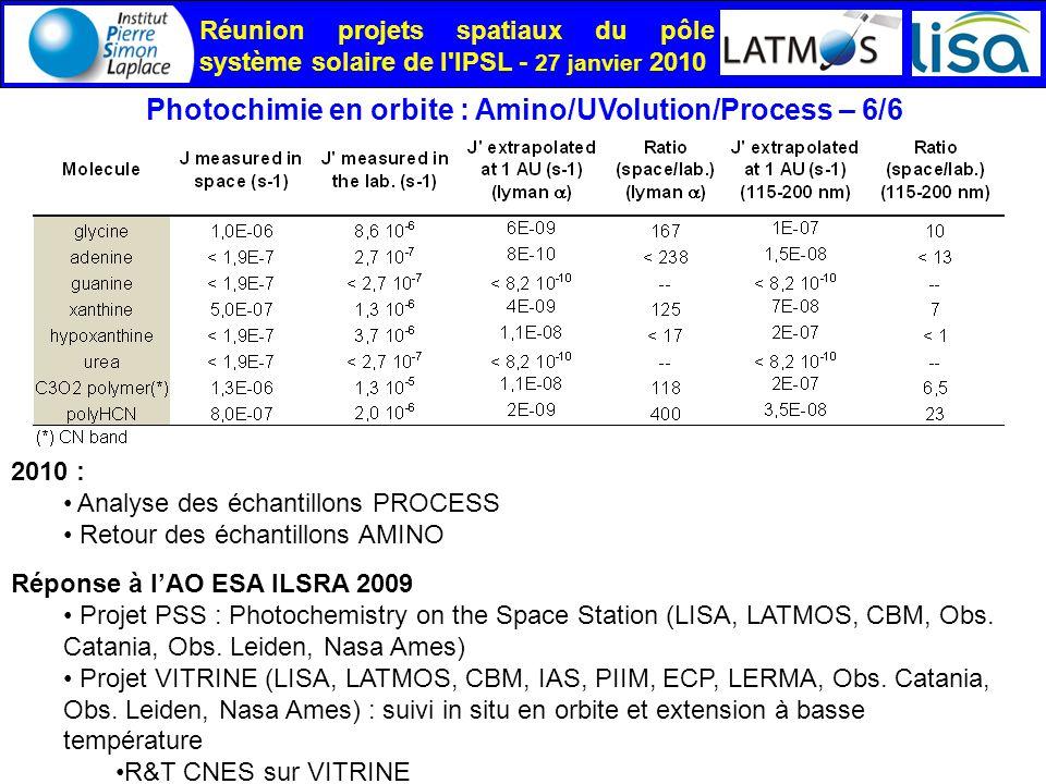 Réunion projets spatiaux du pôle système solaire de l IPSL - 27 janvier 2010 Photochimie en orbite : Amino/UVolution/Process – 6/6 Réponse à lAO ESA ILSRA 2009 Projet PSS : Photochemistry on the Space Station (LISA, LATMOS, CBM, Obs.