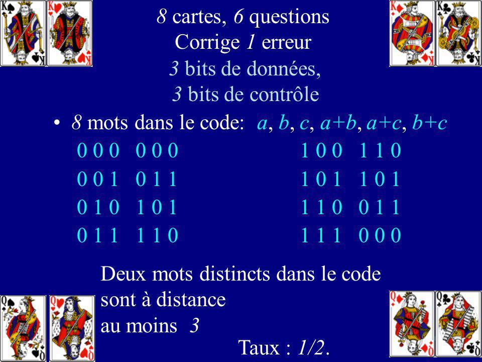107 8 réponses correctes: a, b, c, a+b, a+c, b+c 8 cartes, 6 questions corrige 1 erreur avec a, b, a+b on sait si a et b sont corrects Si on connaît a