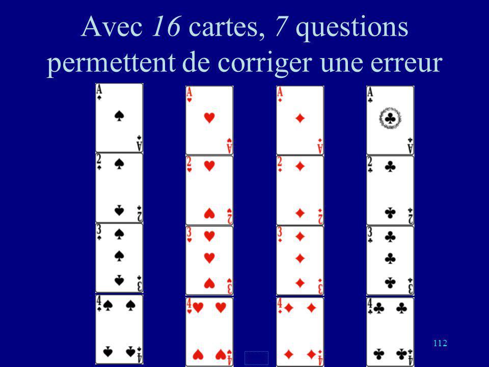 111 Nombre de questions Pas derreurDétecte 1 erreur Corrige 1 erreur 2 cartes123 4 cartes235 8 cartes346 16 cartes457