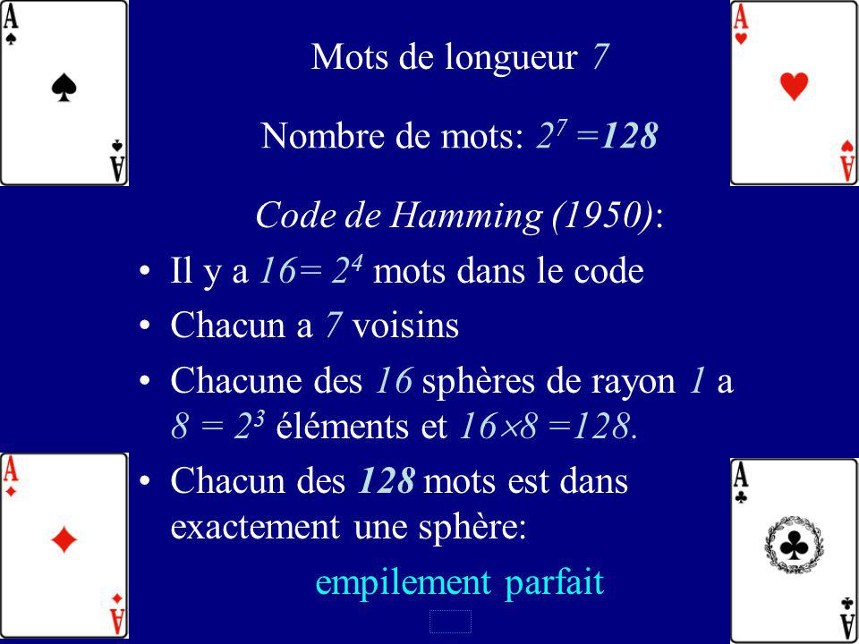 118 16 mots du code de longueur 7 0 0 0 0 0 0 0 0 0 0 1 1 1 0 0 0 1 0 0 1 1 0 0 1 1 1 0 1 0 1 0 0 1 0 1 0 1 0 1 0 1 1 0 1 1 0 1 1 0 0 1 1 1 0 0 0 1 0