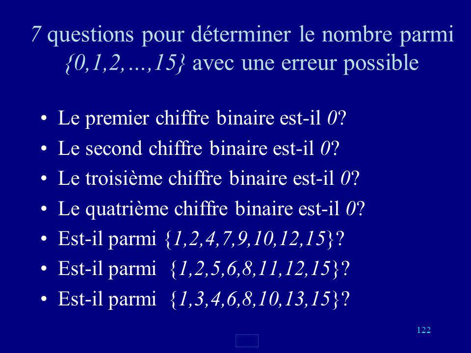 121 On numérote les cartes de 0 à 15, on écrit les numéros en notation binaire 0000, 0001, 0010, 0011 0100, 0101, 0110, 0111 1000, 1001, 1010, 1011 11