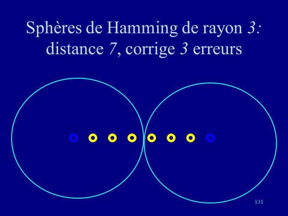 130 Sphères de Hamming de rayon 3: distance 6, détecte 5 erreurs, corrige 2 erreurs