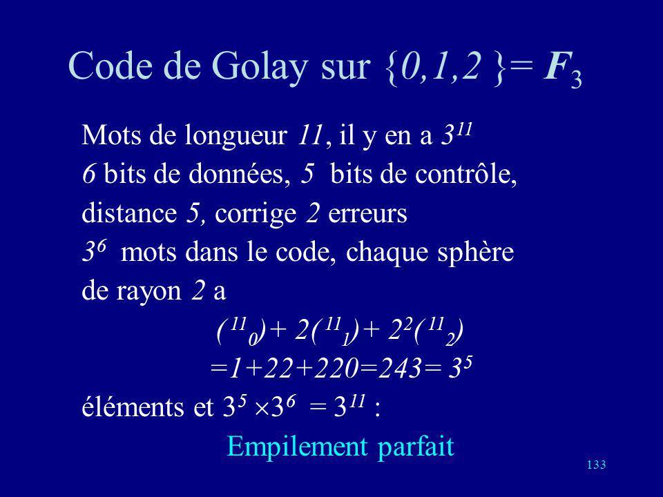 132 Code de Golay sur {0,1}= F 2 Mots de longueur 23, il y en a 2 23 en tout 12 bits de données, 2 12 mots dans le code 11 bits de contrôle, distance