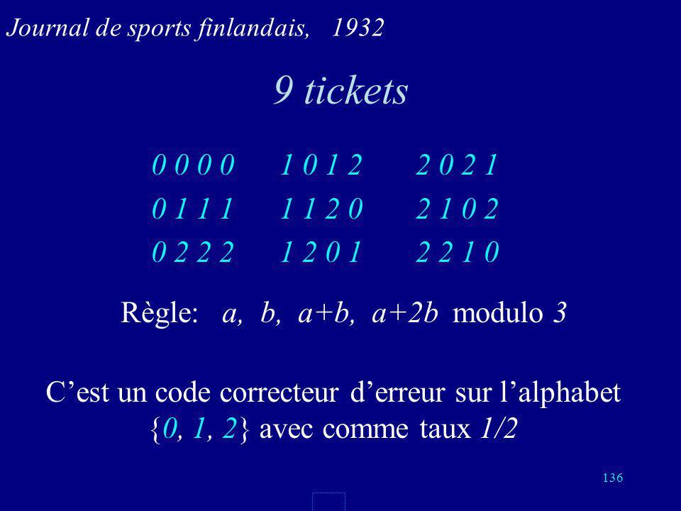 135 4 matchs, 3 prédictions justes Pour 4 matchs, il y a 3 4 = 81 résultats possibles. Chaque pari pour 4 matchs est une suite de 4 symboles {0, 1, 2}