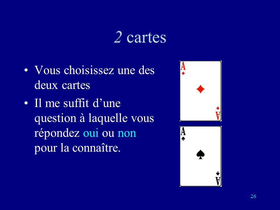 25 Je sais quelle carte vous avez choisie Parmi une collection de cartes, vous en choisissez une sans me dire laquelle. Je vous pose des questions aux