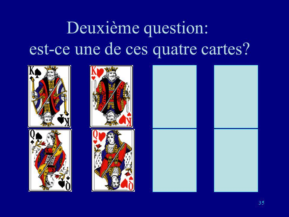 34 Première question: est-ce une de ces quatre cartes?
