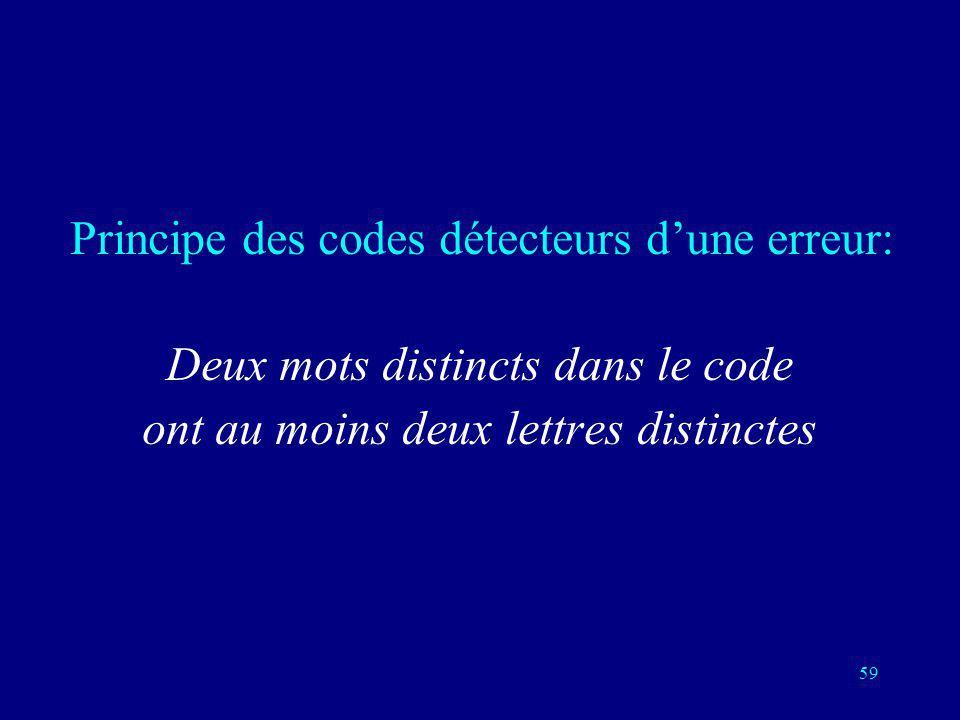 58 Détecter une erreur en envoyant deux fois le même message Envoyer chaque bit deux fois 2 mots dans le code sur un nombre total de 4=2 2 mots possib