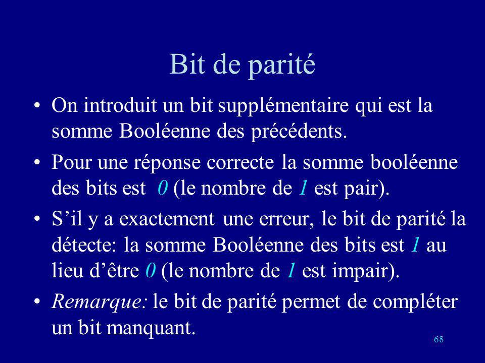 67 Addition Booléenne pair + pair = pair pair + impair = impair impair + pair = impair impair + impair = pair 0 + 0 = 0 0 + 1 = 1 1 + 0 = 1 1 + 1 = 0