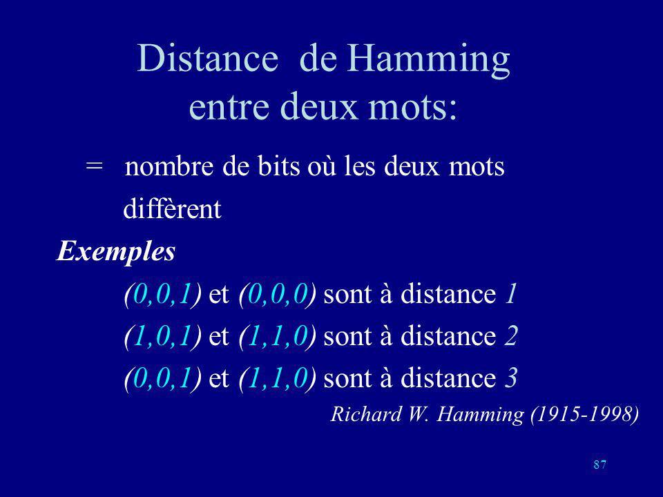 86 Principe des codes corrigeant une erreur: Deux mots distincts dans le code ont au moins trois lettres différentes