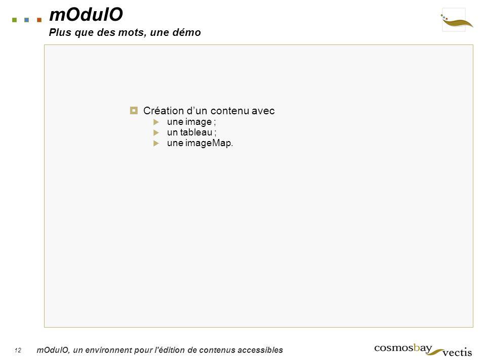 12 mOdulO, un environnent pour l édition de contenus accessibles mOdulO Plus que des mots, une démo Création dun contenu avec une image ; un tableau ; une imageMap.