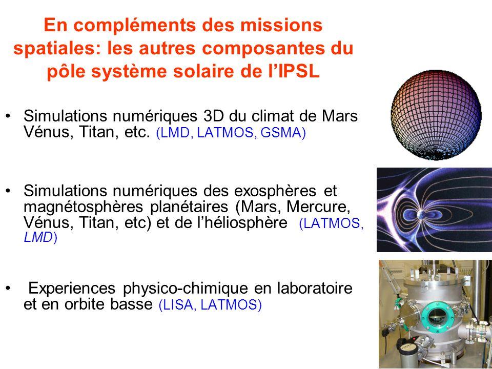 En compléments des missions spatiales: les autres composantes du pôle système solaire de lIPSL Simulations numériques 3D du climat de Mars Vénus, Titan, etc.