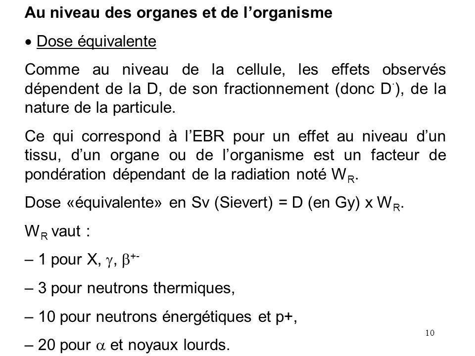 10 Au niveau des organes et de lorganisme Dose équivalente Comme au niveau de la cellule, les effets observés dépendent de la D, de son fractionnement (donc D.
