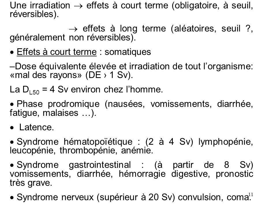 11 Une irradiation effets à court terme (obligatoire, à seuil, réversibles). effets à long terme (aléatoires, seuil ?, généralement non réversibles).