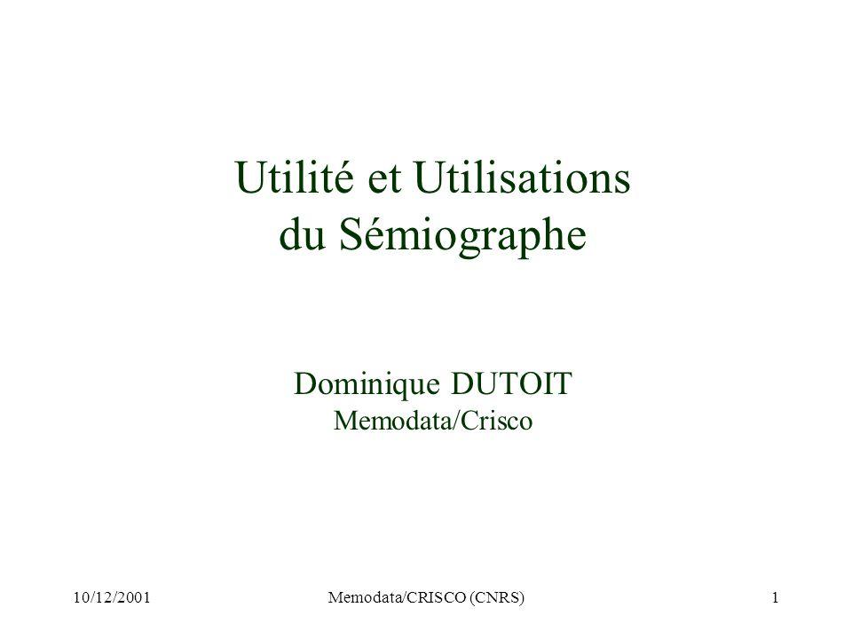10/12/2001Memodata/CRISCO (CNRS)1 Utilité et Utilisations du Sémiographe Dominique DUTOIT Memodata/Crisco