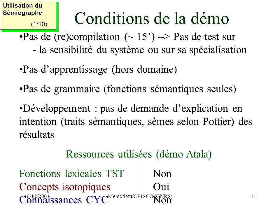 10/12/2001Memodata/CRISCO (CNRS)11 Conditions de la démo Pas de (re)compilation (~ 15) --> Pas de test sur - la sensibilité du système ou sur sa spécialisation Pas dapprentissage (hors domaine) Pas de grammaire (fonctions sémantiques seules) Développement : pas de demande dexplication en intention (traits sémantiques, sèmes selon Pottier) des résultats Ressources utilisées (démo Atala) Fonctions lexicales TSTNon Concepts isotopiquesOui Connaissances CYCNon Utilisation du Sémiographe (1/10) Utilisation du Sémiographe (1/10)