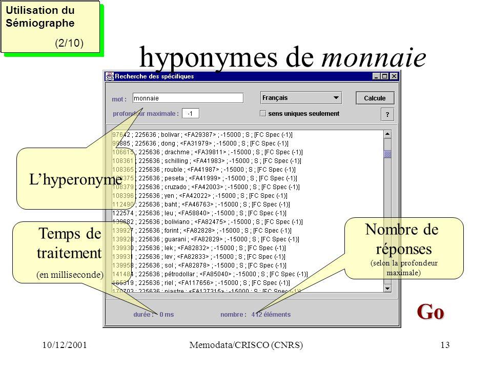 10/12/2001Memodata/CRISCO (CNRS)13 hyponymes de monnaie Utilisation du Sémiographe (2/5) Utilisation du Sémiographe (2/5) Utilisation du Sémiographe (2/10) Utilisation du Sémiographe (2/10) Go Go Temps de traitement (en milliseconde) Nombre de réponses (selon la profondeur maximale) Lhyperonyme