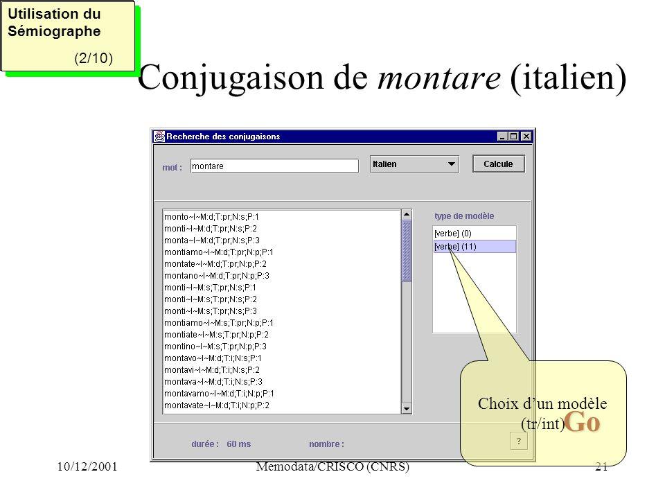 10/12/2001Memodata/CRISCO (CNRS)21 Conjugaison de montare (italien) Utilisation du Sémiographe (2/5) Utilisation du Sémiographe (2/5) Utilisation du Sémiographe (2/10) Utilisation du Sémiographe (2/10) Go Go Choix dun modèle (tr/int)