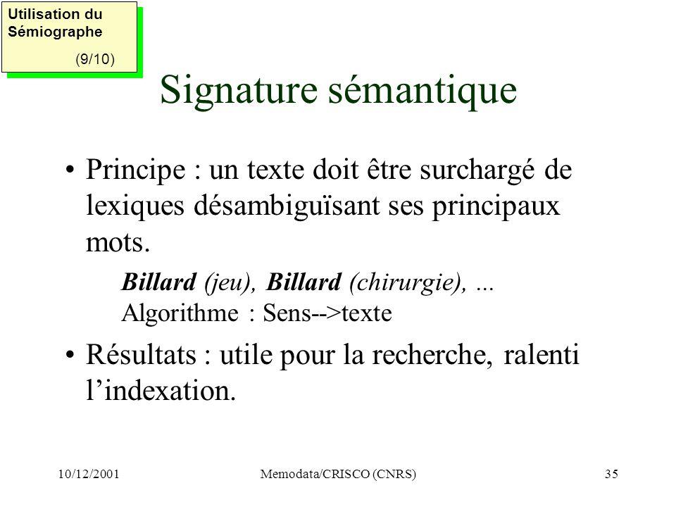 10/12/2001Memodata/CRISCO (CNRS)35 Signature sémantique Principe : un texte doit être surchargé de lexiques désambiguïsant ses principaux mots.