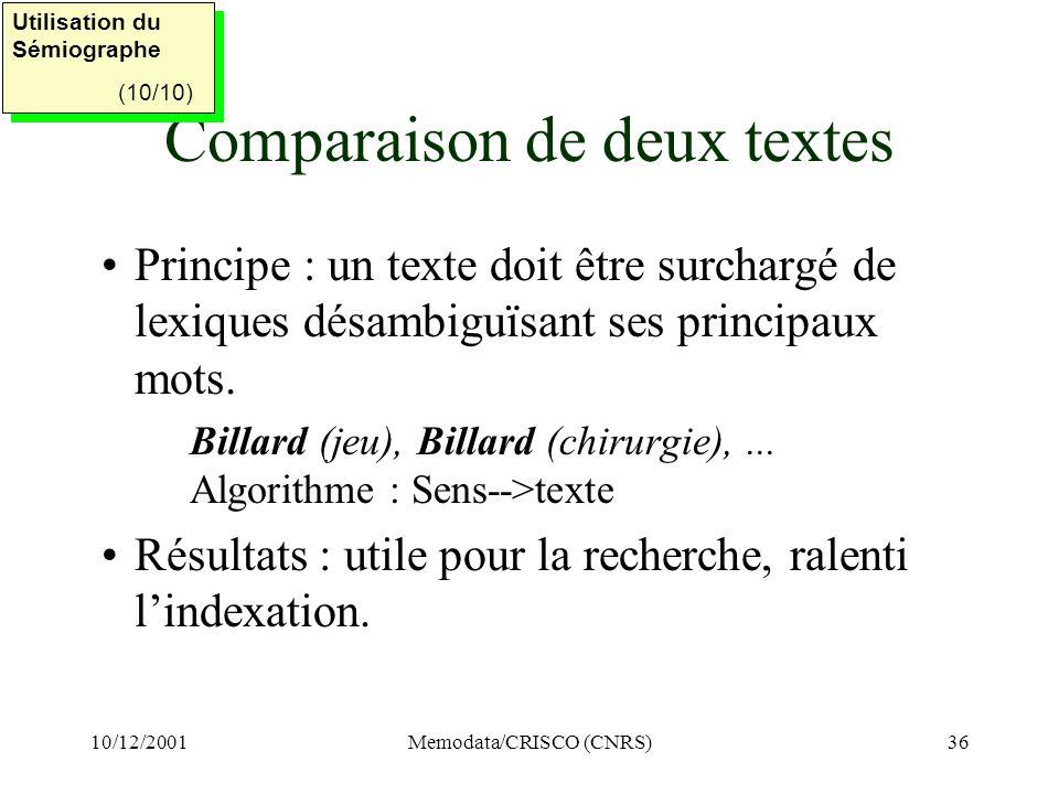 10/12/2001Memodata/CRISCO (CNRS)36 Comparaison de deux textes Principe : un texte doit être surchargé de lexiques désambiguïsant ses principaux mots.