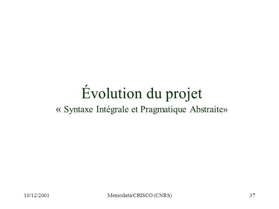 10/12/2001Memodata/CRISCO (CNRS)37 Évolution du projet « Syntaxe Intégrale et Pragmatique Abstraite»