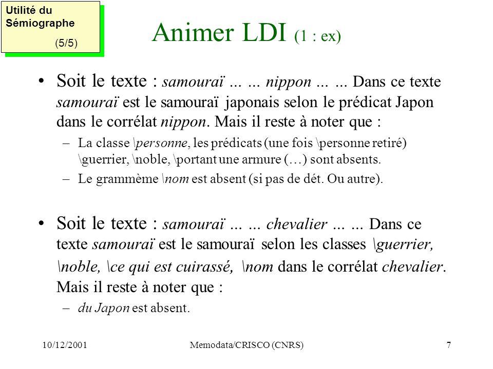 10/12/2001Memodata/CRISCO (CNRS)7 Animer LDI (1 : ex) Soit le texte : samouraï … … nippon … … Dans ce texte samouraï est le samouraï japonais selon le prédicat Japon dans le corrélat nippon.