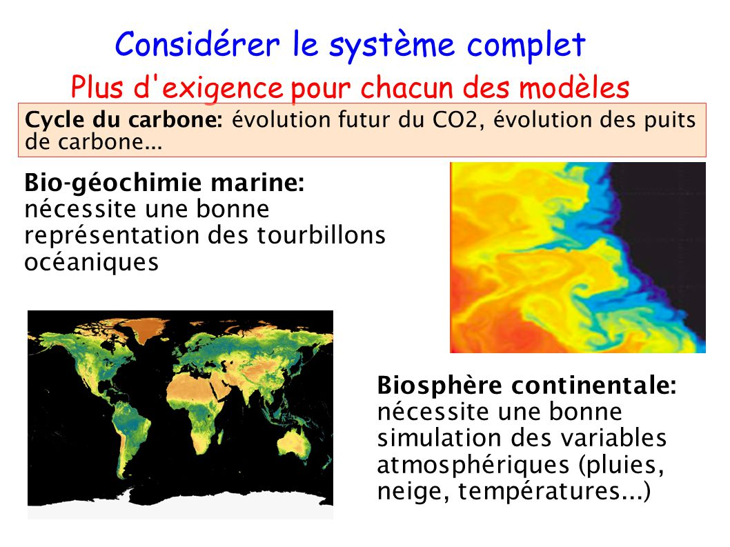 Bio-géochimie marine: nécessite une bonne représentation des tourbillons océaniques Considérer le système complet Plus d'exigence pour chacun des modè