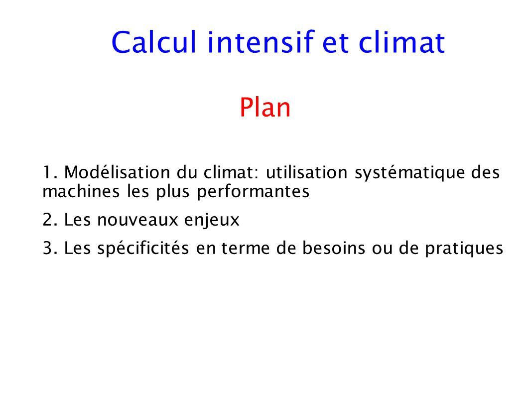 1. Modélisation du climat: utilisation systématique des machines les plus performantes 2. Les nouveaux enjeux 3. Les spécificités en terme de besoins