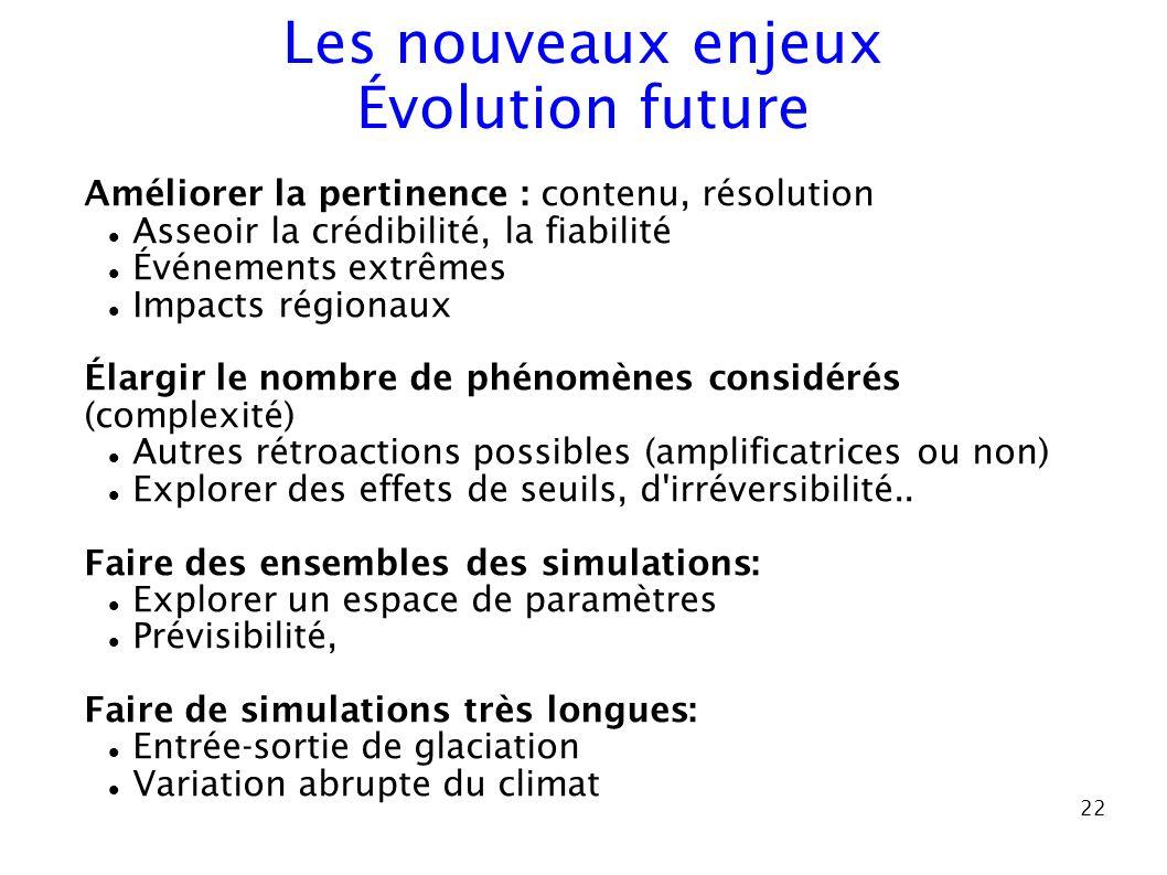22 Améliorer la pertinence : contenu, résolution Asseoir la crédibilité, la fiabilité Événements extrêmes Impacts régionaux Élargir le nombre de phéno