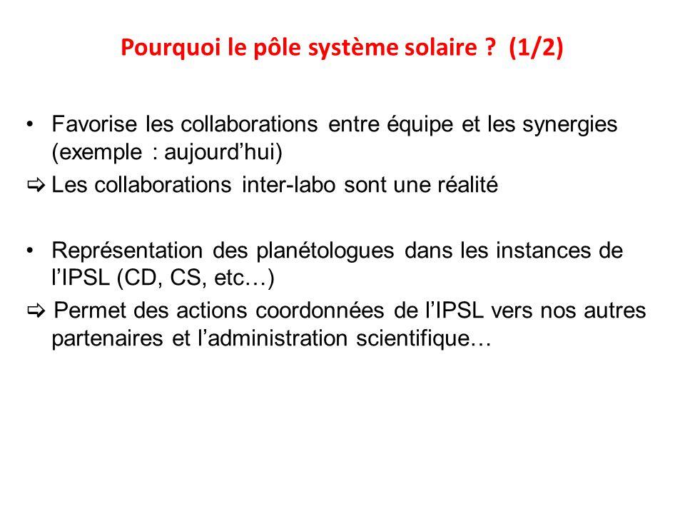 Pourquoi le pôle système solaire ? (1/2) Favorise les collaborations entre équipe et les synergies (exemple : aujourdhui) Les collaborations inter-lab