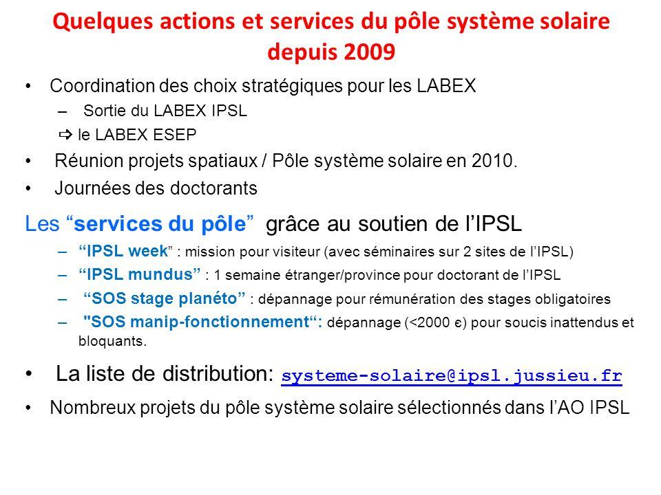 Coordination des choix stratégiques pour les LABEX – Sortie du LABEX IPSL le LABEX ESEP Réunion projets spatiaux / Pôle système solaire en 2010. Journ
